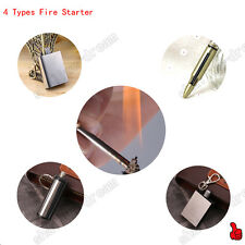 4 Types Survival Metal Lighter Fire Starter Oil Outdoor Camping Key Chain FJ