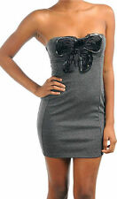 Dress Sequin Bow Strapless Gray Rosette Cocktail S M L New Mini Party Tube Woman