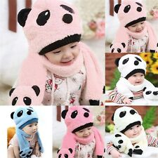 2PCS Infant Baby Panda Beanie Hat Warm Winter Scarf Toddler Kids Girl Boy Cap XN