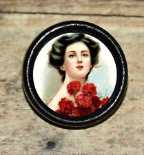 RED ROSE BOUQUET Victorian Fashion Altered Art Tie Tack or Ring or Brooch pin