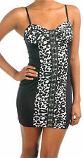 Dress S M L Leopard Corset Style Printed Animal Mini Club Womens New Bodycon