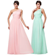 Sexy One Shoulder Chiffon Ball Gown Evening Prom Party Dress Masquerade Cocktail