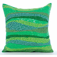 "Missoni Garden - Green 16""x16"" Silk Throw Pillows Cover"