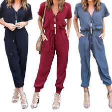 Womens Sexy V-Neck Lace Up Romper Pants Casual High Waist Evening Party Jumpsuit