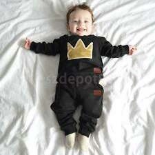 Phenovo Newborn Infant Baby Boy Girl Crown Tops Long Pants Outfits Set Clothes