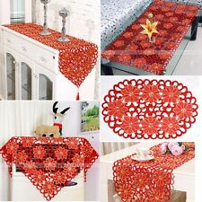 Embroidered Flower Cutwork Dinning Coffee Tablecloth Table Runner Placemats Red