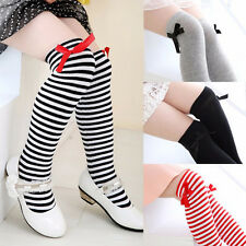 Adorable Girls Cotton Knee Socks Kids Children Baby Bowknot Striped Leg Warmers