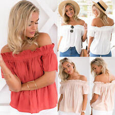 New Womens One Off Shoulder Casual Frill Tops Loose Blouse Ladies Summer T Shirt