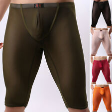 Sexy Men's Mesh Sheer Underwear Legging Yoga Short See Through Underpant Pants