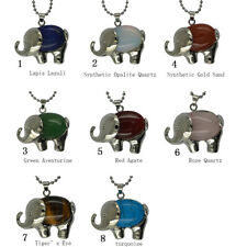 Healing Chakra Oval Cabochon Elephant Pendant Necklace Sweater Chain 8 Types