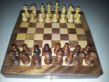 """7"""" Inches Magnet Portable Handmade Folding Wooden Chess Set Game Board-Gift item"""
