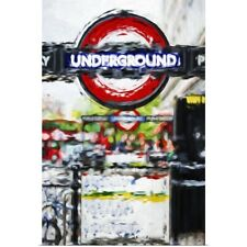 Poster Print Wall Art entitled Underground Sign, Oil Painting Series