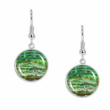 "Japanese Footbridge Water Lilies Monet Artwork Print 3/4"" Charm Dangle Earrings"