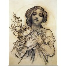 Poster Print Wall Art entitled Mucha Study of Woman with Fruit