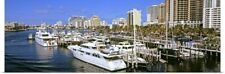 Poster Print Wall Art entitled Boats moored at a harbor, Fort Lauderdale,
