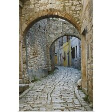 Poster Print Wall Art entitled Twin Arches Above Cobblestone Street, Bale,