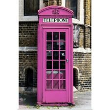 Poster Print Wall Art entitled Painted Pink Phone Booth in London