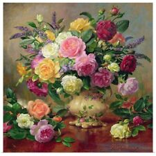 Poster Print Wall Art entitled Roses from a Victorian Garden (oil on canvas)