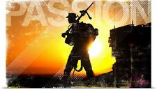 Poster Print Wall Art entitled Military Grunge Poster: Passion. A machine gunner
