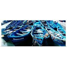 Poster Print Wall Art entitled Wooden boats moored at a harbor, Essaouira,