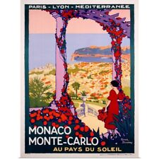 Poster Print Wall Art entitled Monte Carlo, Monaco, Vintage Poster, by Roger