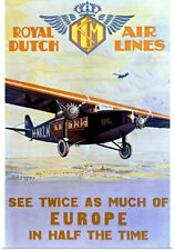 Poster Print Wall Art entitled Royal Dutch Airlines, KLM, Vintage Poster