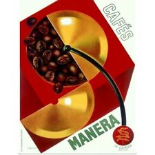 Poster Print Wall Art entitled Cafe Manera, Coffee Bean, Vintage Poster