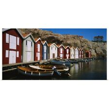 Poster Print Wall Art entitled Boats moored at the dock, Smogen, Sotenas