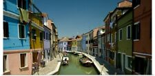 Poster Print Wall Art entitled Boats in a canal, Grand Canal, Burano, Venice,