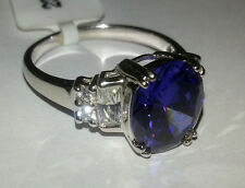 * Ladies Sterling Silver Tanzanite Colour Cubic Zirconia Ring 925 CZ * (SALE ) *