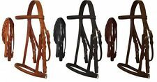 Full Horse English Headstall w/ Raised Browband, Braided Leather Reins & Caveson