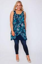 Plus Navy, Turquoise & White Floral Print Chiffon Overlay Tunic Dress 16-32