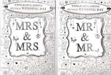 Mrs & Mrs, Mr & Mr Same Sex Wedding Card, Various Designs To Choose From.