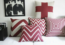 """Dark Red Geometric Waves Squares Linen Throw Pillow Case Cushion Cover 18"""" x 18"""""""
