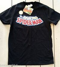 NWT Youth Marvel Comics Amazing Spiderman Words Black T Shirt Size S