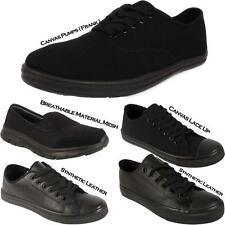 New Mens Boys Back to School Black Casual Trainers Ladies Sports Sneakers Shoes