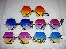SUPER SIZED OCTAGON SUNGLASSES GRADIENT COLOR LENS RETRO DESIGNER SUNGLASSES