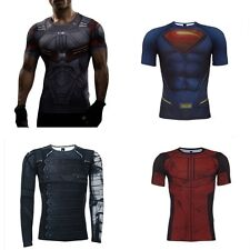 DC Marvel Superhero Comic Compression Tee T-Shirt Gym Sport Fitness Men T Shirt