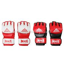 Half Fingers Grappling Gloves Boxing Gloves Red and White/Black
