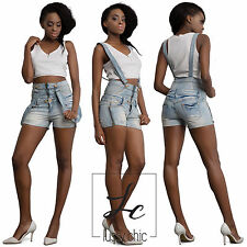 New Womens Ladies Blue Denim High Waisted Dungaree Shorts Summer Size 8 10 12