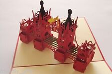 17cm x 15cm 3D Pop Up London Tower Bridge, Red Cover, Any Occasion Greeting Card