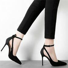 Korean OL Silm High Heels Pointed Sandals Womens Ankle Strap Buckle Suede Pumps