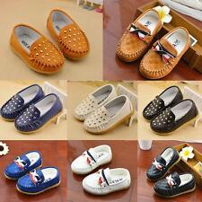 Boys Girls Rivet Flat Slip on Loafers Soft Casual Shoes Kids Baby Toddler