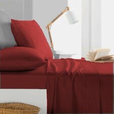 1000TC Egyptian Cotton 1pc  FITTED SHEET Sateen Solid Dark Red
