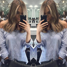 Womens Striped Off The Shoulder Long Sleeve T Shirts Casual Tops Blouse Tee Gift