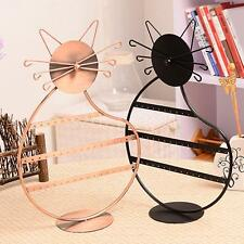 Kitty Cat Earrings Rings Necklace Jewelry Display Stand Holder Show Rack Case