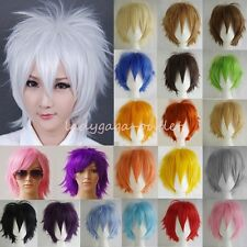 Cosplay Wig Women Men Short Straight Anime Costume Full Hair Wigs + Free Wig Cap