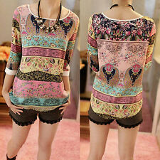 Women 3/4 Sleeve Blouse Casual Round Neck Floral Print Shirt Loose Top Gorgeous