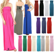 New Womens Plain Plus Size Boob Tube Sheering Long Bandeau Ladies Maxi Dress