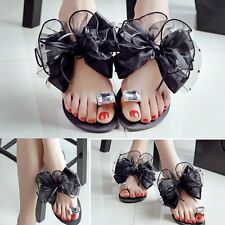 Bow Tie Sandals Flip Flops Platform Shoes Beach Pool Summer Womens Girls MG